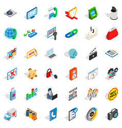 Www management icons set isometric style vector