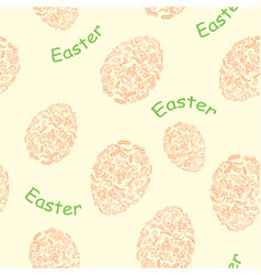 Yellow seamless pattern with easter eggs vector