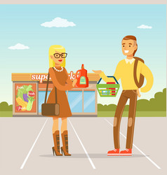 young couple standing in front of supermarket with vector image