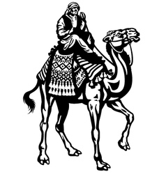 camel with rider black white vector image vector image