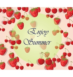Enjoy Summer background with fruits vector image