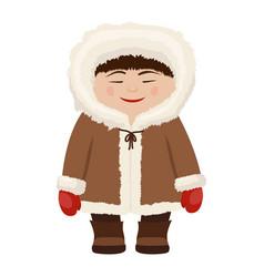 eskimo man in fur coat vector image