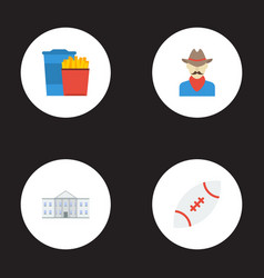 flat icons western snack white house and other vector image