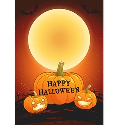 Happy Halloween full moon poster vector image vector image
