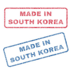 made in south korea textile stamps vector image