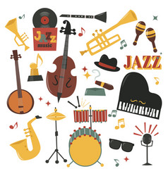 musical instruments decorative icons with guitar vector image vector image