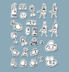 Naif Doodle Icons vector image vector image