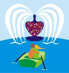 valentine on boat vector image