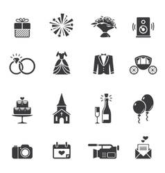 Black wedding icons vector image vector image
