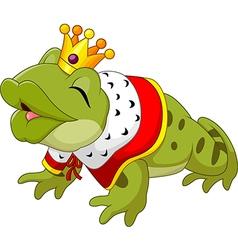Cartoon funny king frog king blowing a kiss vector