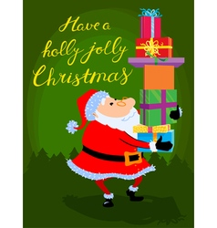 Christmas card with cute cartoon Santa Claus vector image vector image