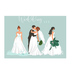 hand drawn abstract cartoon wedding hugging vector image