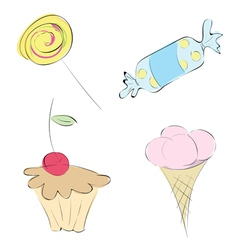 images in a variety of sweets set candy mini-cake vector image