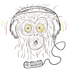 Monkey listens the music vector image vector image