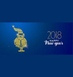 New year 2018 gold glitter holiday santa claus vector
