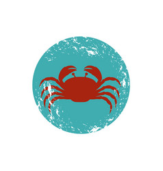 old blue circular ornament with crab inside vector image vector image