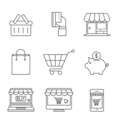 Online Shopping Icons Line vector image vector image