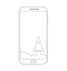 outline drawing smartphone phone screen and vector image