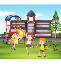 Three boys playing soccer in the field vector image