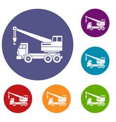 truck crane icons set vector image vector image