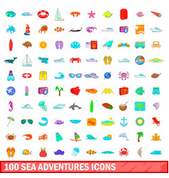 100 sea adventures icons set cartoon style vector image