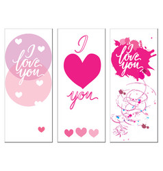 a set of postcards with the inscription i love you vector image