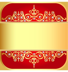 background with gold ornaments and precious stones vector image vector image