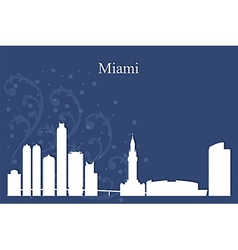 Miami city skyline on blue background vector image