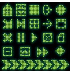 monochrome fluorescent dotbased icon set vector image vector image