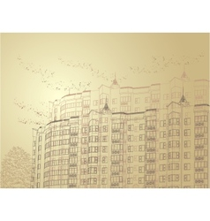 architectural sepia urban vector image vector image