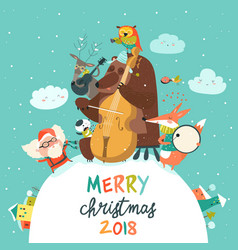 cute merry christmas card with animals santa and vector image