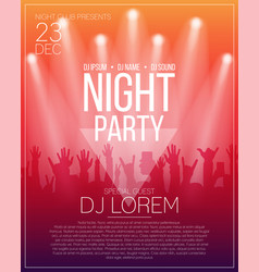 dance party flyer or poster design template night vector image vector image