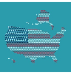 Dot And Flag Map Of America vector image