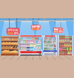 Supermarket store interior with goods b vector
