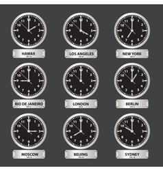 time zones black and silver clock set eps10 vector image