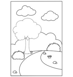 a nature landscape colouring template vector image