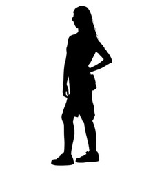 a woman with long hair and a short skirt is vector image