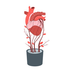 Artificial heart growing in flowerpot transplant vector