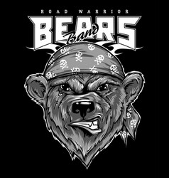 bear biker motorcycle animal vector image