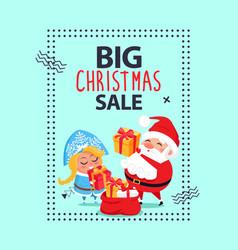 big christmas sale banner santa claus snow maiden vector image