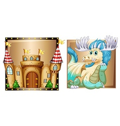Blue dragon and palace vector