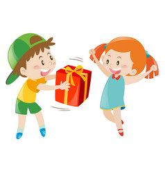 Boy giving present to girl vector