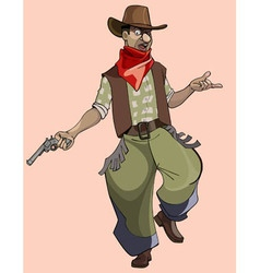 cartoon funny man in cowboy clothes vector image
