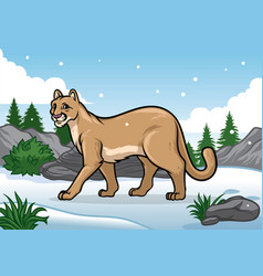 Cartoon of cougar in the snowy mountain vector