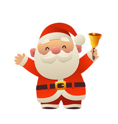 cartoon santa claus with bell for your christmas vector image