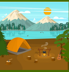 cartoon summer tourist camp card poster vector image