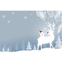 christmas background design of reindeer and pine vector image vector image