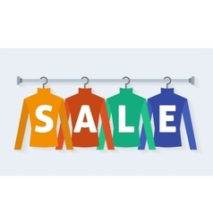 Clothes racks with dresses on hangers vector image