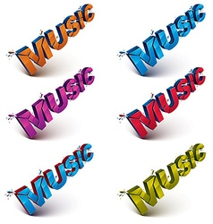 Collection of 3d music word broken into pieces vector