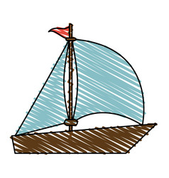 color crayon stripe image wooden boat with sail vector image
